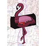 More Than a Mailbox, Pink Flamingo Design on Black Background, Outdoor Mailbox, Metal with Wood and Decals, Made in USA