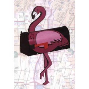 More Than a Mailbox, Pink Flamingo Design on Black Background, Outdoor Mailbox, Metal with Wood and Decals, Made in USA by More than a Mailbox