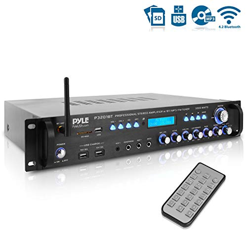 Multi Channel Bluetooth Preamplifier Receiver – 3000 Watt Audio Home Speaker Sound Stereo Receiver w/Radio, USB, Headphone, AUX, RCA, Dual Microphone w/Echo, LED, Wireless Streaming – Pyle P3201BT