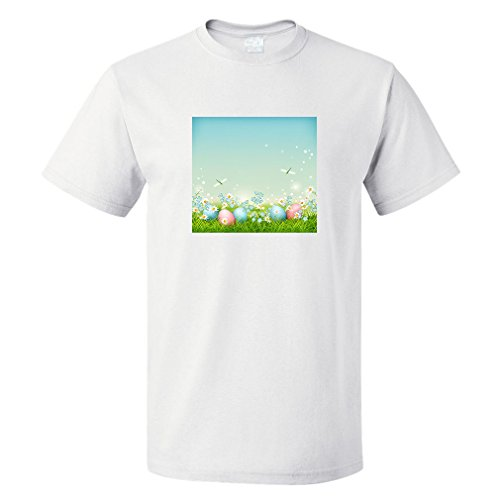 Style in Print Easter Eggs In Grass Dragonfly Cotton Unisex T-Shirt Tee Top White 5X-Large