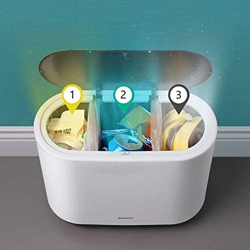 color gris cocina dormitorio Cubo de basura rectangular con escobillas de silicona para inodoro inodoro con bot/ón de apertura para abrir para ba/ño 10 L Skroad