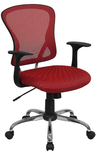 Flash Furniture Mid-Back Red Mesh Swivel Task Chair with Chrome Base and Arms by Flash Furniture