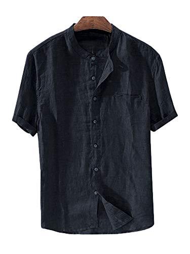 Taoliyuan Mens Linen Shirts Banded Collar Short Sleeve Button Down Casual Summer Beach Slim Fit T Shirt