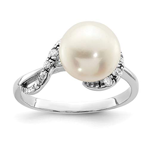 Brooch Akoya Pearl (925 Sterling Silver 10mm White Freshwater Cultured Pearl Cubic Zirconia Cz Band Ring Size 7.00 Fine Jewelry Gifts For Women For Her)