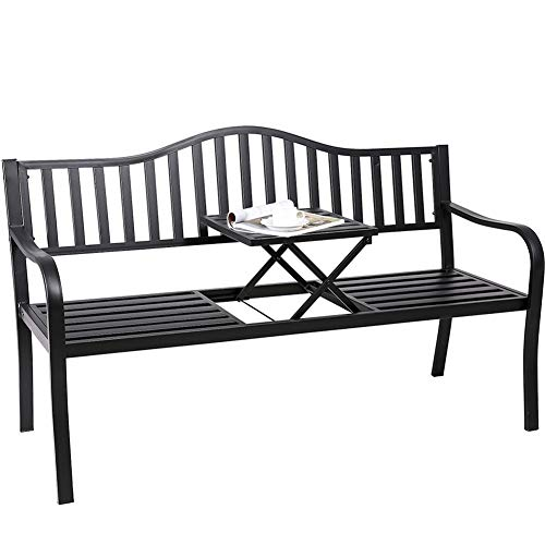 Outdoor Patio Chair with Middle Table, Superjare Graden Bench for 2 Person, Black (Black Garden Table Small)