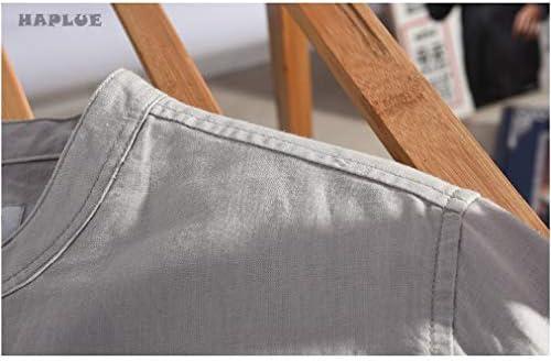 [HAPLUE]メンズ シャツ 無地 スリムフィット 柔らかい 綿とリネン ハイエンド シャツ 長袖 半袖 春 夏 秋 トップス