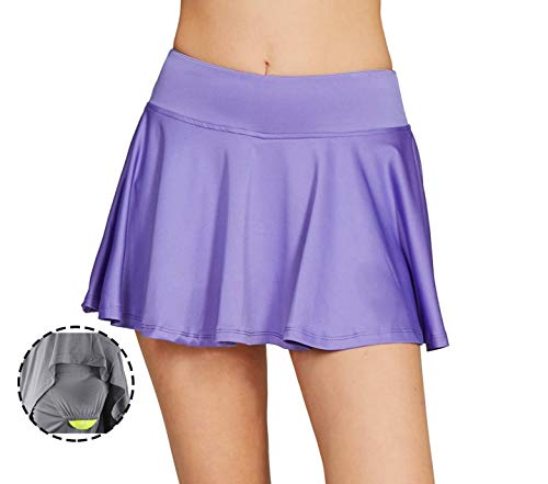 Running Lightweight Skorts Casual Gym Tennis Skort with Built-in Shorts XXL Purple ()