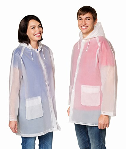 EVA The Best Rain Poncho - Unisex Men Women - Reusable Raincoat - with Hood - Ventilation & Two Pockets - Stay Dry In The Rain (Clear Rain Jacket)