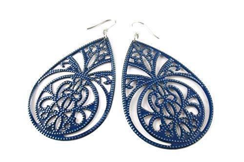 Multi-Layered Teardrop Blue Floral Earrings