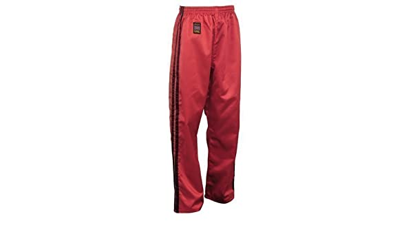 Playwell Kick Boxing Sat/én Full Contact Pantalones Rojo W// 2 Negro Rayas