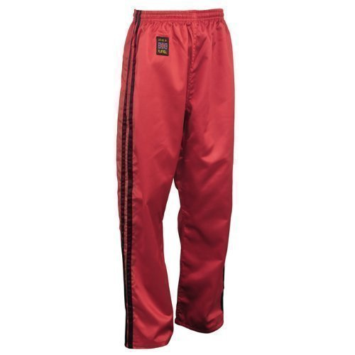 PLAYWELL Pantalon en satin - full-contact/kickboxing - rouge/2 bandes noires