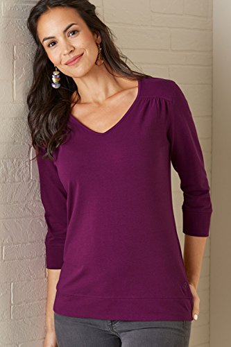 Fair Indigo Fair Trade Organic 3/4 Sleeve Ruched V-Neck Top