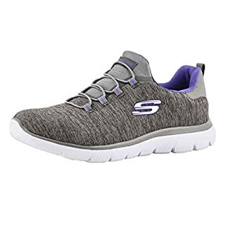 Skechers Women's Summits-Quick Getaway Sneaker, Charcoal/Purple, 8 W US