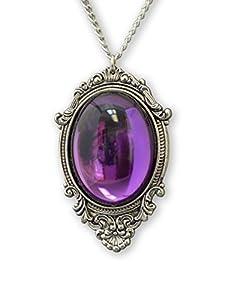 Purple Cabochon in Antique Silver Finish Frame Pendant Necklace