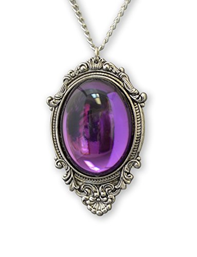 Purple Cabochon in Antique Silver Finish Frame Pendant