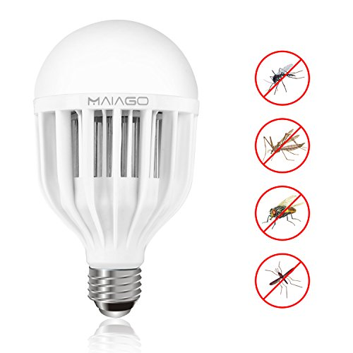 [Upgraded Version]MAIAGO 3-in-1 Bug Zapper Light Bulb, Electronic Insect Killer, Mosquito Killer, 10W 95V-265V E26/E27 LED Cool White Bulb (6500k) for Indoor, Home, Garden, Patio and Backyard
