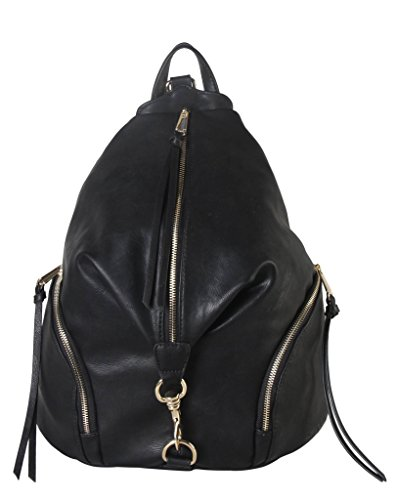 Diophy PU Leather Fashion Backpack with Zipper Pockets on Both Side Womens Purse Handbag AB-052