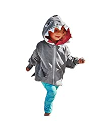 KONFA Toddler Baby Boys Girls Cartoon Shark Pocket Hoodie Pullover,Kids Hooded Jacket Coat Fall Winter Clothes