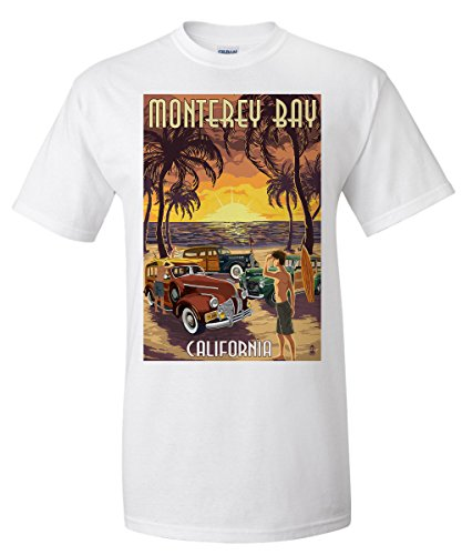Monterey Bay  California   Woodies On The Beach  White T Shirt Large