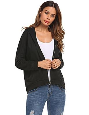 Zeagoo Women's Zip Up Boyfriend Hoodie Pocket Loose Casual Jacket