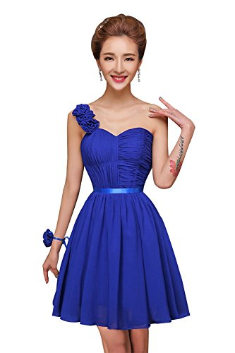Marineblau Ball Kleider Brautjungfer Kurz Junior Chiffon Kleid Shoulder Heimkehr drasawee One wIqv7O6