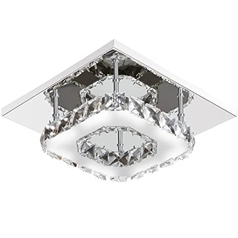 Mabor Lámpara Cristal Colgante de Techo LUZ LED de Interior, Lámpara de Araña LED Cuadrada 12W, Decoración Hogar, Material Acero Inoxidable, ...