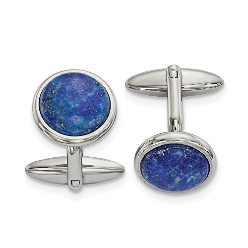 Stainless Steel Polished Lapis Cuff Links Men's 19.27 mm 25.26 mm Cuff Links Accessory