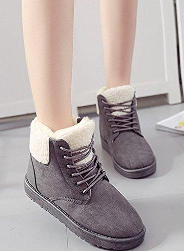 Térmico Zapatos Forro Algodón Botas Botas Talón varios Martin Cordones Botas Minetom colores Mujer Plano Invierno Felpa Rqw7Y