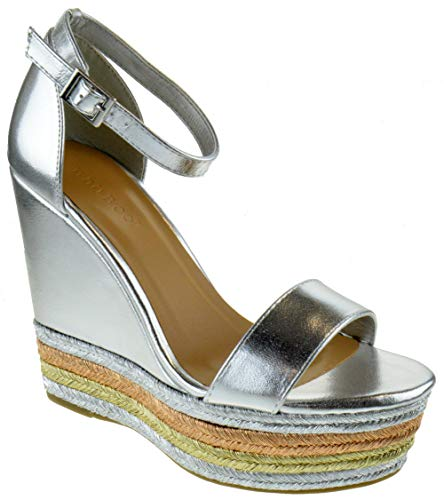 BAMBOO Choice 27M Womens Slingback Buckle Platform Wedge Dress Sandals Silver 10 (Buckle Silver Floral)