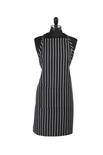 Mercer Culinary M61110BCS Genesis Bib Apron with Pocket, Black & White Chalk Stripe