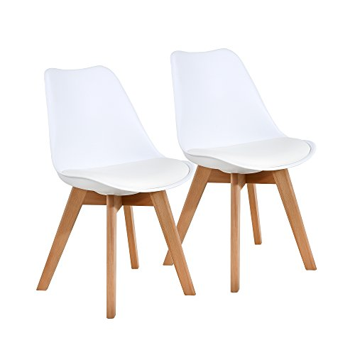 NOBPEINT Eames-Style Mid Century Dining Chairs,Set of 2(White)