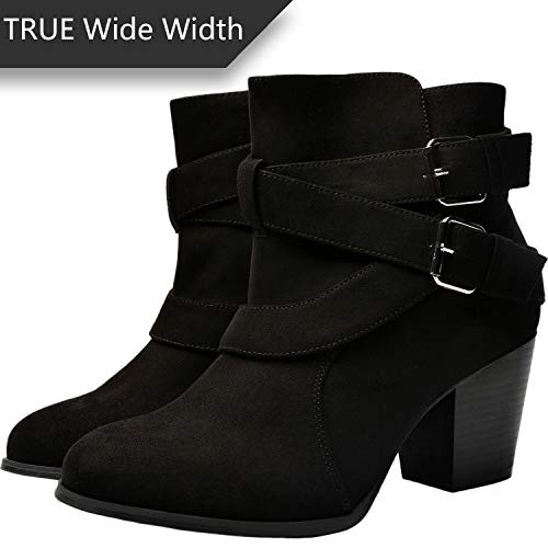 Pictures of Luoika Women's Wide Width Ankle Boots - Black 10 XW US 4