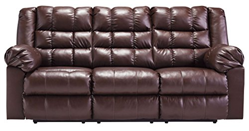 Signature Design by Ashley 8320288 Brolayne DuraBlend Collection Reclining Sofa, Saddle (Saddle Reclining Sectional)