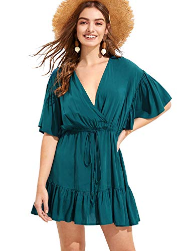 Floerns Women's Half Sleeve Surplice Drawstring Hight Waist Ruffle Hem Dress Green L