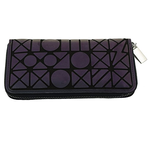 Magibag Women Geometric Rhomboids Lattice Wallet Iridescent Purse Long Coin Purse Clutch Cell Phone Case (Card Lattice)