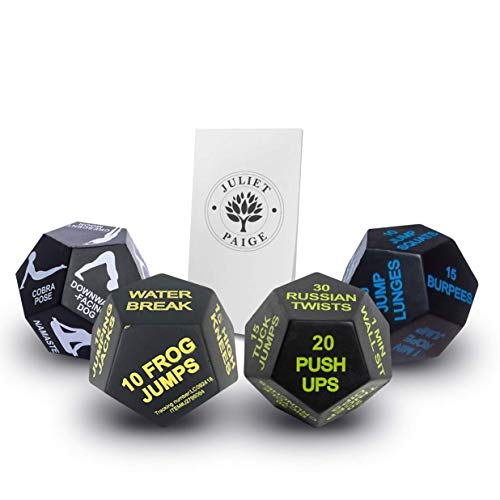 Juliet Paige Exercise Dice for Workouts, Yoga, and Fitness Plus Booklet with Exercise Illustrations (4 Dice, Multi Bundle)
