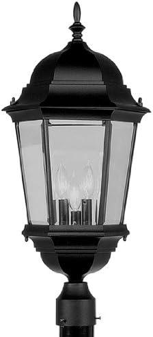 Livex Lighting 7568-04 Hamilton 3 Light Black Cast Aluminum Outdoor Post Head Lantern with Clear Beveled Glass