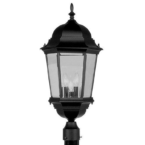 Cast Post Black Lantern - Livex Lighting 7568-04 Hamilton 3 Light Black Cast Aluminum Outdoor Post Head Lantern with Clear Beveled Glass