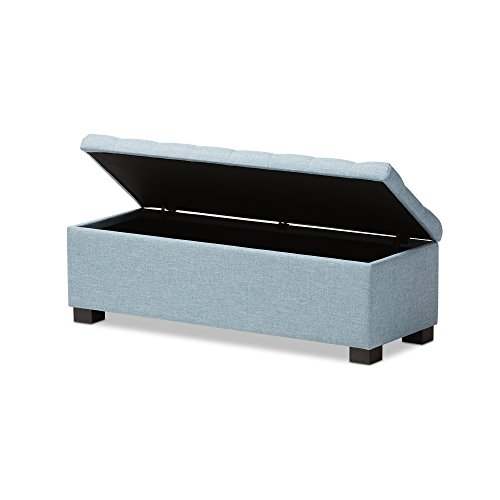 Baxton Studio Orillia Modern and Contemporary Light Blue Fabric Upholstered Grid-Tufting Storage Ottoman Bench