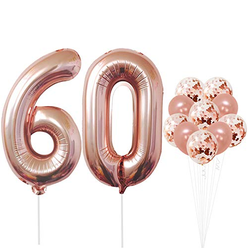 Rose Gold 60 Number Balloons - Large, 6 and 0 Mylar Rose Gold Balloons, 40 Inch | Extra Pack of 10 Latex Baloons, 12 Inch | Great 60th Birthday Party Decorations| 60 Year Old Rose Gold Party Supplies