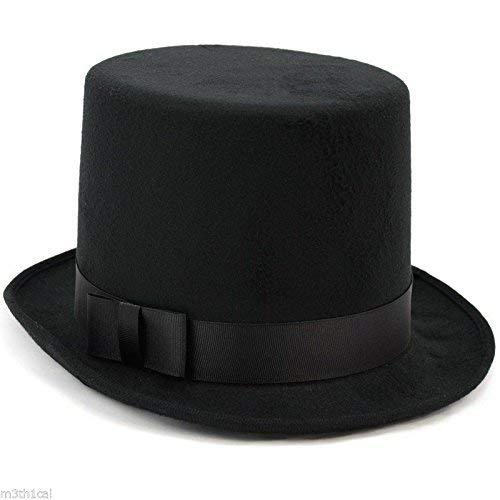 Jacobson Hat Company Deluxe Victorian Dickens Black Felt High Crown Costume Top Hat, Medium ()
