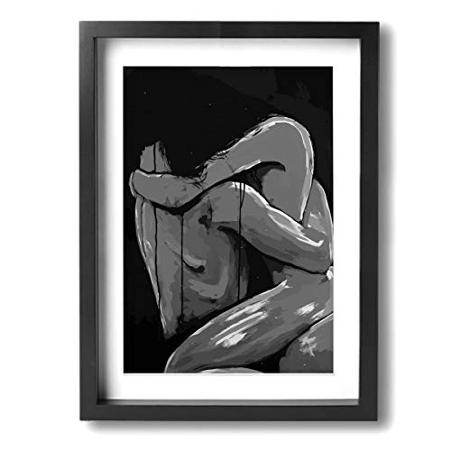 Mikonsu Lihna 12x16 In Picture Frame Sexy Nude Couple Love Gay Lesbian Lovers Black And White- Photo Paintings Modern,Wall Art Paintings Abstract Wall Artworks (Sexy Black And White Photos Of Couples)