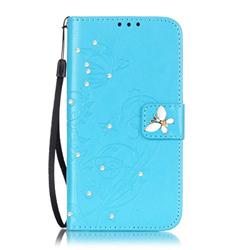 Galaxy J3 Case, ARSUE Luxury Embossing Flower Butterfly PU Leather Wallet Case Flip Cover with Card Slots & Stand For Samsung Galaxy J3 (2016) / Amp Prime / Express Prime,(Blue/bling)