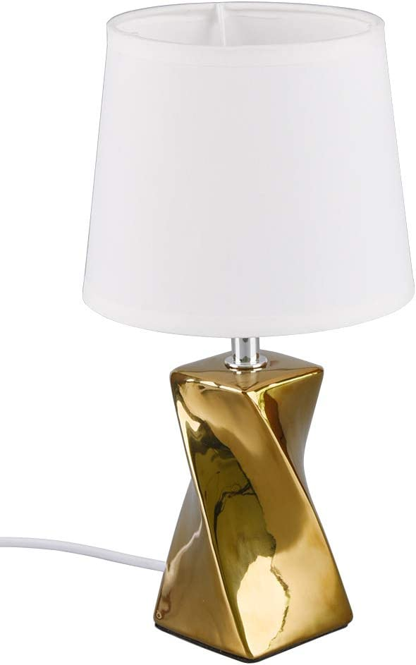 Reality Leuchten Tischleuchte Abeba R50771579 Fuß Keramik Goldfarbig Stoffschirm Weiß Exkl 1x E14 Beleuchtung