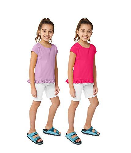 KIDPIK Girls T Shirts 2Pack Coco Swing Top (Fuchsia Purple/Orchid Bouquet)- XS ()