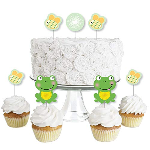 Froggy Frog - Dessert Cupcake Toppers - Baby Shower or Birthday Party Clear Treat Picks - Set of -