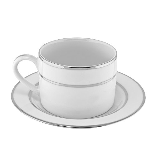10 Strawberry Street Double Silver Line 6 Oz Can Cup and Saucer, Set of 6, White/Silver