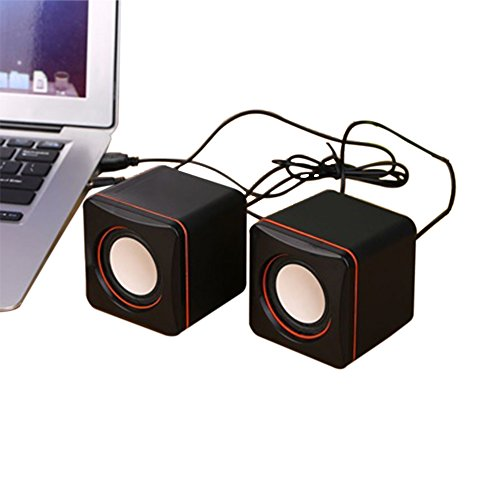 Mini USB Laptop Speakers Wired Laptop Speakers 2.0 Channel Small Computer Desktop Speakers Blackmputer Desktop Speakers for PC