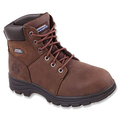 Skechers Mens 77009 Leather Steel Toe Lace Up Safety, Dark Brown, Size 13.0