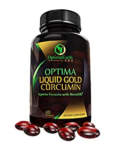 OptimaEarth Liquid Gold Curcumin w/NovaSol - Turmeric Curcumin Supplement - Relief Factor for Joint Pain and Inflammation - 185x More Bioavailable Than Standard Curcumin Supplements